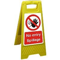 Free Standing Floor Sign 300x600 Poly No Entry Spillage Ref FSS025300x600