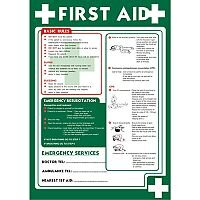 First Aid Sign A2 x 0.44mm Polypropylene Poster First Aid (Basic Rules)
