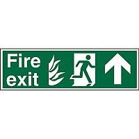 NHS Sign 600x200 1mm Fire Exit - Man Running Right & Arrow Pointing Up