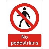 Prohibition Sign 300x400 1mm Plastic No Pedestrians