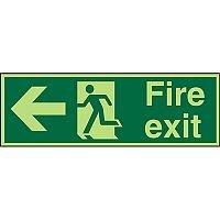 Photolum Sign 2mm 300x100 Fire Exit  Man Running & Arrow Pointing Left