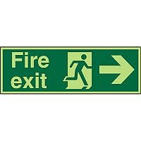 Photolum Sign 2mm 450x150 Fire Exit Man Running & Arrow Pointing Right