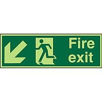 Photolum Sign 2mm 450x150 Fire Exit  Man Running Arrow Pointing Down Left