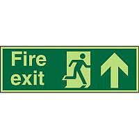 Photolum Sign 2mm 450x150 Fire Exit Man Running Right & Arrow Pointing Up