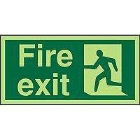 Photolum Exit Sign 2mm 300x150 Fire Exit  Man Running Left