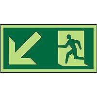 Photolum Sign 300x150 1mm Plastic Man Running & Arrow Down Left