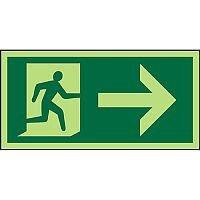 Photolum Sign 300x150  Man Running & Arrow Right 1mm Plastic