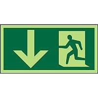 Photoluminescent Sign 300x150 Man Running Left & Arrow Down PVC