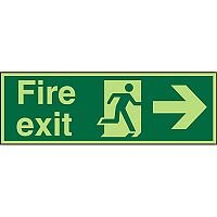 Photolum Sign 600x200 Fire Exit Man Running & Arrow Pointing Right Self Adhesive Vinyl