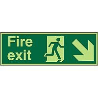 Photolum Sign 600x200 1mm Fire Exit  Man Running Arrow Pointing Down Right