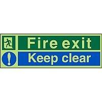 Photolum Sign 600x200 Fire Exit Keep Clear Self Adhesive Vinyl