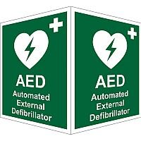 Protruding First Aid Sign 2 Faces 150x200 Each 1mm AED (External)