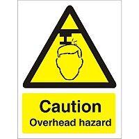 Warning Sign 300x400 1mm Plastic Caution - Overhead Hazard Ref W0132SRP-300x400