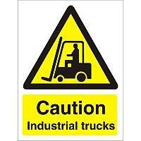 Warning Sign 300x400 1mm Plastic Caution Industrial Trucks