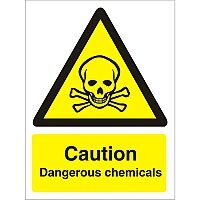 Warning Sign 300x400 1mm Plastic Caution Dangerous Chemicals Pack 1