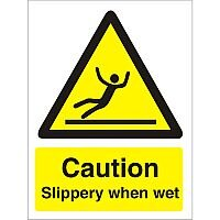 Warning Sign 300x400 1mm Plastic Caution Slippery When Wet