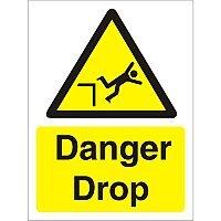 Warning Sign 300x400 1mm Semi Rigid Plastic Danger Drop
