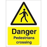 Warning Sign 300x400 1mm Plastic Danger Pedestrians Crossing