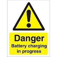 Warning Sign 300x400 1mm Plastic Danger - Battery Charging