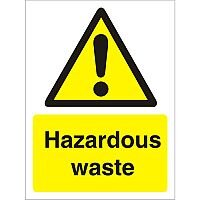 Warning Sign 300x400 1mm Semi Rigid Plastic Hazardous Waste