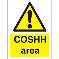 Warning Sign 300x400 1mm Semi Rigid Plastic COSHH Area