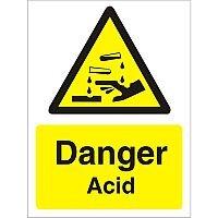Warning Sign 300x400 1mm Semi Rigid Plastic Danger - Acid