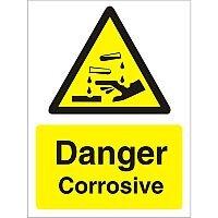 Warning Sign 300x400 1mm Plastic Danger - Corrosive
