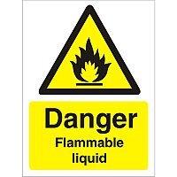 Warning Sign 300x400 1mm Plastic Danger - Flammable Liquid