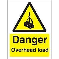 Warning Sign 300x400 1mm Plastic Danger - Overhead Load