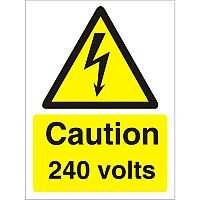 Warning Sign 300x400 1mm Plastic Caution 240 Volts Pack of 1