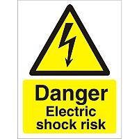 Warning Sign 300x400 1mm Plastic Danger Electric Shock Risk