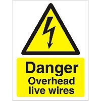 Warning Sign 300x400 1mm Plastic Danger Overhead Live Wires