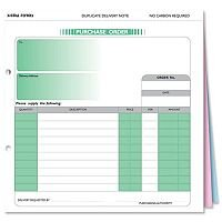 Purchase Order Form 3 Part Set 207x220mm Pack 50 Sigma