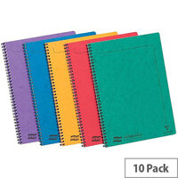 Europa A4 Twinwire Sidebound 90g/m2 120 Page Micro Perforated Notebook 1 x Pack of 10 Assorted Notebooks