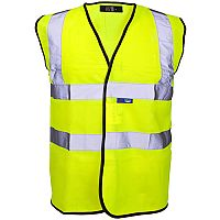 Supertouch High Visibility Vest with Velcro and Black Binding Small Yellow Ref 35241