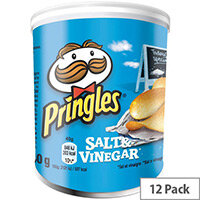 Pringles Popngo Salt and Vinegar Unique Shape Well-seasoned Non Greasy Crisps Pack of 12