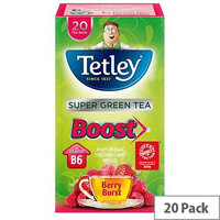 Tetley Super Green Tea Boost Berry Burst with Vitamin B6 Pack of 20 Tea Bags]