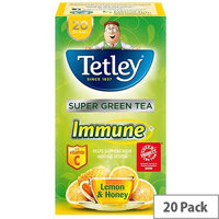 Tetley Super Green Tea Immune Lemon Honey with Vitamin C Pack of 20 Tea Bags]