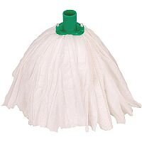 Robert Scott & Sons Big White Socket Mop Head T1 Non-woven Large Colour-coded Green Ref PSTG15 [Pack 10]