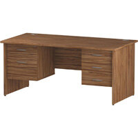 Rectangular Panel End Office Desk With 2 Fixed Pedestals 3/2 Drawer Walnut W1600xD800mm