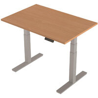 1200x800mm Height Adjustable Rectangular Sit-Stand Desk Beech with Silver Frame