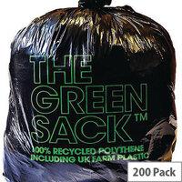 The Green Sack Refuse Sacks Light Duty Under 10kg Capacity Black Pack of 200