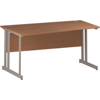 Wave Double Cantilever Silver Leg Left Hand Office Desk Beech W1600mm