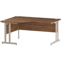 L-Shaped Corner Left Hand Double Cantilever White Leg Office Desk Walnut W1600mm