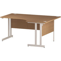 L-Shaped Corner Right Hand Double Cantilever White Leg Office Desk Oak W1600mm