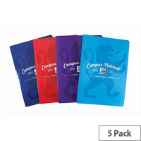 Oxford Campus A4 Casebound Notebook Soft Cover Ruled Margin 90gsm 192 Pages Assorted Pack 5