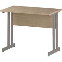 Rectangular Double Cantilever Silver Leg Slimline Office Desk Maple W1000xD600mm