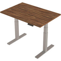 1200x800mm Height Adjustable Rectangular Sit-Stand Desk Walnut with Silver Frame