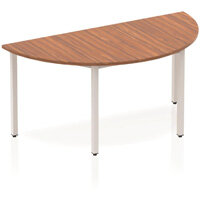 Semi-Circular Table Walnut with Silver Frame 1600x800mm