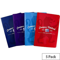 Oxford Campus B5 Casebound Notebook Soft Cover Ruled Margin 90gsm 192 Pages Assorted Pack 5
